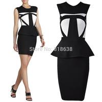 newest 2014 high quality white and black o neck peplum Bandage Dress  Celebrity dress ladies' party evening dress  wholesale