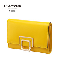 LIAOZHE authentic Korean exclusive first layer of leather handbags leather yellow female short wallet purse, Ms.