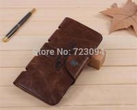 Free Shipping Nwe Vintage Men Genuine Leather Long Wallet Luxury Hasp Purse Pockets ID Card Clutch Bag BG030