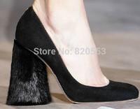 New Sexy Wedding Shoes Brand Womens Rabbite Fur High Heels Square Toe Slip On Pumps sapatos femininos