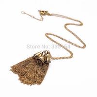2014 Women Vintage Tassel Pendant Long Chain Necklace Women Long Necklace 5pcs/lot Free Shipping