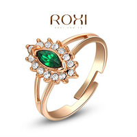 2014 ROXI brand fashion women ring Rose Green Austrian Crystal Rose Gold Plated, wedding Ring Jewelry Affordable price
