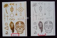 2014 new arrival harajuku hot sale flash tattoo Metallic gold silver foil temporary body tattoo for women