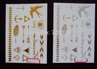 2014 new arrival harajuku hot sale Metallic gold silver  flash tattoo foil temporary body tattoo for women