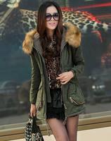 New Women's Big Fur WinterJacket Ladies Winter Wadded Coat Outdoor Overcoat Parkas Khaki/Army Green M-XXL JK-362