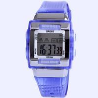Digital sport watch waterproof 30 Meters fashion square design shock resistant alarm stopwatch multifunction 11 colors dropship