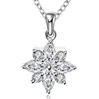 N581 Women's Necklace, Flower 925 Sterling Silver Jewelry Chain Pendant Clear Zircon Crystal