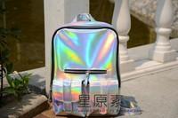 2014 Fashion HARAJUKU Hologram Silver Laser Backpack Student school backpack messenger shoulder bag