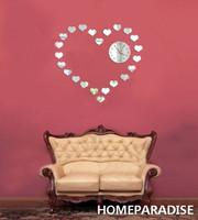 Silver Small Love Hearts Combines a Big Love Heart Art DIY 3D Crystal Mirror Wall Clock Wall Sticker Living Room Bedroom Decor
