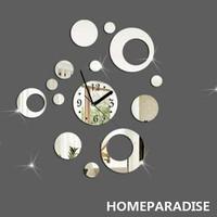Silver Rounds Dot Art Mordern Luxury Design DIY Removable 3D Crystal Mirror Wall Clock Wall Sticker Living Room Bedroom Decor