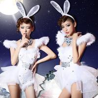 Brand WYB New Girl Lead Dancer Cosplay Costumes Sexy Costumes for Christmas Day Slim Singer Diamond Rabbit Leotard White S,M,L
