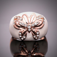 Europe And America Rings Fashion 18k Rose Gold Plated Butterfly Shape Enamel Rings Stellux Austrian Crystal Ring ER014