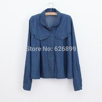 2014 Autumn Women's Fashion Denim Blouse Jean Shirt Long Sleeve Turn Down Collar Cowboy Shirt Jean Blusa CC23