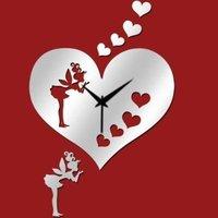 Silver Love Heart Angel Art Mordern Luxury Design DIY Removable 3D Crystal Mirror Wall Clock Wall Sticker