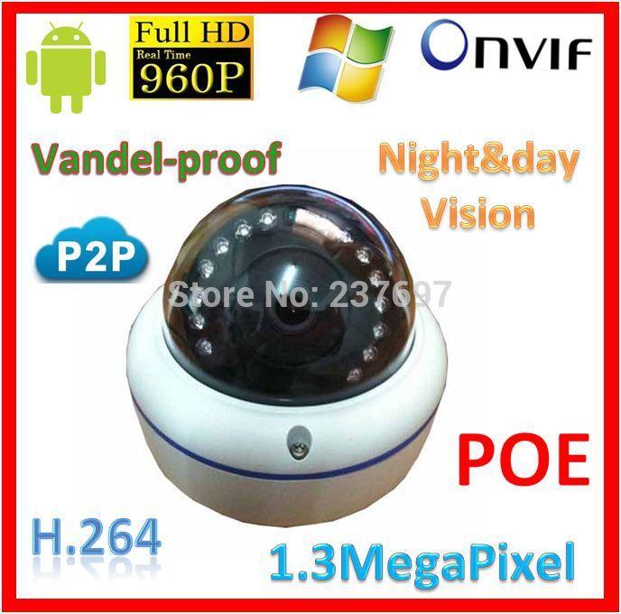 H.264 HP 960P Network IP Camera Waterproof Security CCTV Outdoor Camera Onvif POE Power Over Ethernet 1.3Megapixel WebKams(China (Mainland))