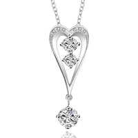 """Fashion 18""""  Women's 925 Sterling Silver Jewelry Necklace Chain Pendant  Zircon Crystal N632"""