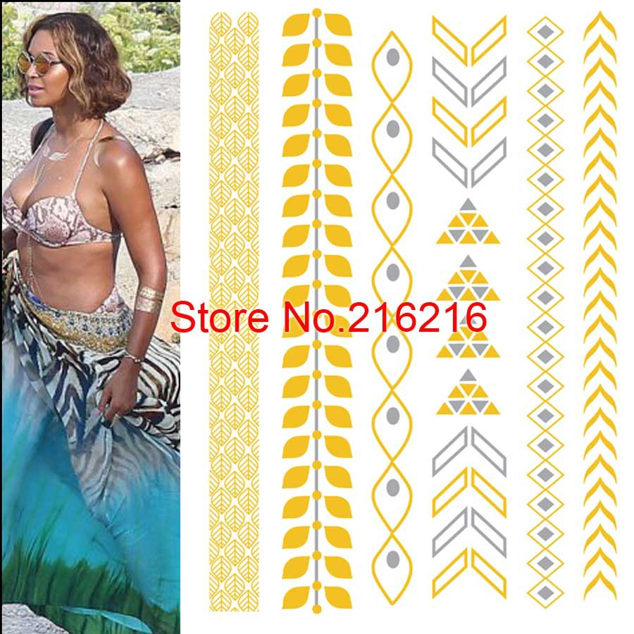 1Pcs Temporary Gold & silver Jewelry Inspired tattoos flash fancy body bling(China (Mainland))