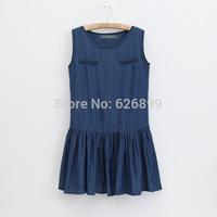 2014 Autumn And Summer Women Denim Dress  Cowboy Dressing Sleeveless Dark Blue Jean Dress CC24