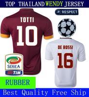 A+++ Gervinho Nainggolan Florenzi De rossi 2015 14 15 Totti Top Men Soccer Jersey Thailand Shirt Ljajic Rubber Patch