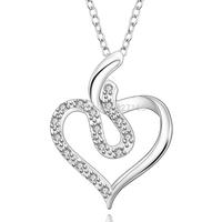 "Simple 18""  Women's Necklace Chain Pendant  925 Sterling Silver Jewelry Zircon N641"