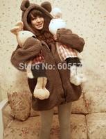 Korea Winter Warm Cartoon Bear Ear Hoodie Hooded Outerwear Jackets Coat