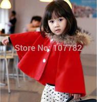 Retail Children's Outerwear Baby Girls Autumn Winter Coat Girl Mum fashion Cloak Jackets Fur Collar Woolen Coat AB350-1