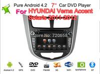 Pure Android 4.2 Car DVD For Hyundai Verna  Accent Solaris Capacitive screen A9 Dual Core Cpu GPS BT TV Radio RDS,Wifi,Free ship