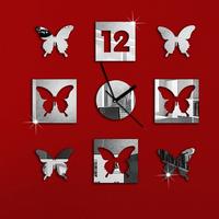 Silver Creative Beautiful Butterfly Art Mordern Luxury 3D Crystal Mirror Wall Clock Wall Sticker Living Room Bedroom Decor