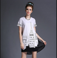 M32834 free shipping high degree new design 100% authentic Autumn dress 2014
