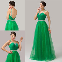 Green Backless Formal Evening Dress Women Soft Tulle Ball Gown Sequins Prom Dresses Long CL6143Y