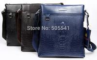 Free Shipping PU Leather Casual Men Alligator Messenger Bag Crocodile leather Business Shoulder Bag Black Brown Blue BG1001