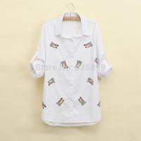 2014 Autumn Sweet Women's Cotton Blouse Owl Embroidery Stylish Shirt Long Sleeve Lapel Femininas Blusa CC27