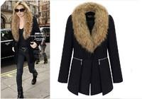 2014 Autumn/winter new design fur collar woolen coat women clothing wool jacket coat women fur jackets