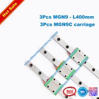 Free Shipping 3Pcs MGN9- 400mm + 3pcs MGN9C standard block Linear guide&bearing BRH9 RAIL