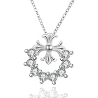 """18""""  Charming Women's Necklace Chain Pendant  925 Sterling Silver Jewelry Clear Zircon N659"""