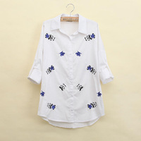 2014 Women's Adorable Cotton Blouse Beard And Eyes Embroidery Stylish Shirt Long Sleeve0 Lapel Loose Comfy Blusa CC28
