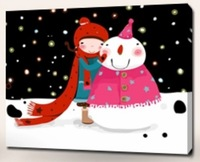 Making A Snowman Oil Painting DIY Paint by Numbers 50x40cm (20x16'') PBN BW7317