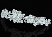 Wholesale Bridal Wedding Party Quality Handmade White Flower Fabric Satin Crystals Tiara CT1445