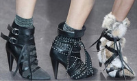 New Arrival 2014 Hot sale T show Brand Design Pointed Toe Ankle Boots Winter Gladiator Boot For Women