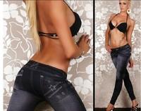 Women's Fashion Jeggings Leggings Stretch Skinny Leg Pants Jeggings blue and black 2pairs/lot
