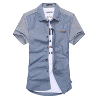 Factory Direct 2014 Pure linen shirt fashion shirt men stitching factory direct KEJ2516