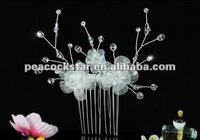 Bridal Wedding Party Quality Handmade White Fabric Flower Crystal Hair Comb CT1437