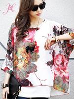 Fashion 2015 Autumn Blouse Large Size Batwing Sleeve Watercolor Painting Chiffon Blouse Plus Size Brand Blouse