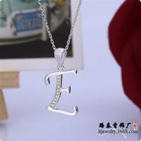 BLAL005 Letter E pendants women silver necklace chains pendants jewelry,  free shipping
