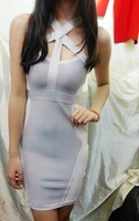 High Quality New Gray And White criss cross cut out Bandage Dress Hot Fashion HL Bodycon Dress wholesale