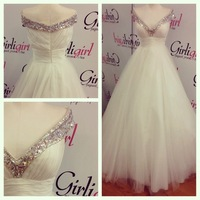 2014 New Arrival V-Neck A-Line Cap Sleeve Sleeveless Crystal Beading Edge Floor Length Long Bridal Wedding Dresses