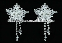 Bridal Wedding Party Quality 2 Pcs X Flower Hair Clips Crystal CT1440
