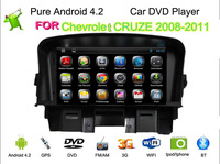 Capacitive multi touch screen pure Android 4.2 Car DVD For Chevrolet cruze 2008 2009 2010 2011 2012 With 3G wifi ipod