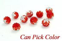rhinestone sohg 10mm mixed Gradient change Colorful Crystal Shamballa Beads Disco Ball Bracelet Necklace DIY spacer making