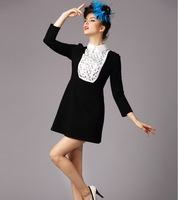 M32835 free shipping high degree new design 100% authentic 5XL Autumn lady dress 2014